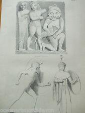 Antigua Impresión c1880s Grabado Escultura Antigua aeginetan Roma Vintage