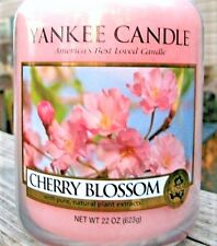 """Yankee Candle """"CHERRY BLOSSOM"""" Floral Pink Large 22 oz.~ WHITE LABEL ~ NEW!"""