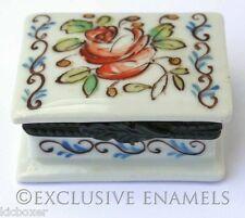 Limoges Vintage Peint Main Orange Flowered Hinged China Trinket Box