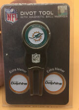 Miami Dolphins NFL Team Golf Divot Tool with 3 Magnetic Ball Markers LOT OF 2