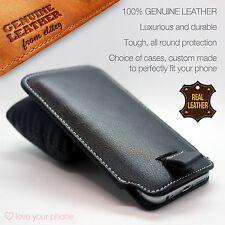 Apple iPhone 6S 6✔Black Luxury Leather Pull Tab Slide In Case Cover Sleeve Pouch