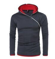 Men's Autumn Winter Personalized Diagonal zipper hooded sweater Coat Outwear