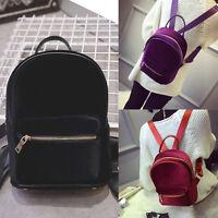 Women Girl Velvet Shoulder School Bag Backpack Travel Satchel Rucksack Handbag