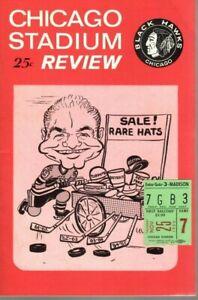 1966 11/25 Hockey program/ticket Detroit Red Wings @ Chicago Blackhawks ~ EX