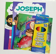 Kids Activity Book Pack Set Colored Pencils Sharpener Religious Road Trips 5-Pc
