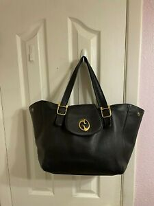 GUCCI BLACK LEATHER Double GG Tote Carryall Bag Hobo Large    12x16