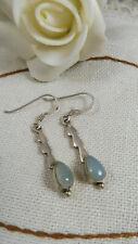 Vintage Art Deco Solid Silver Chalcedony Gemstone Dangle Earrings