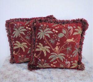 "Pair of Lee Jofa 18"" Throw Toss Pillows Cushions Red Chenille Jungle Tropical De"