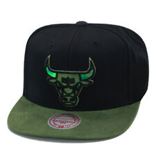 9695dc863a0 Mitchell   Ness Chicago Bulls Snapback Hat Black Olive Suede Iridescent