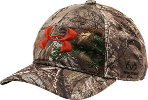 NEW! Under Armour Mens Camo Golf Snap Back Cap-Realtree Camo/Orange OSFA
