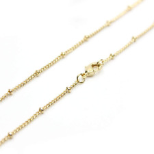 Wholesale 12PCS Gold Plated Solid Brass Satellite Beaded Ball Curb Thin Chain Ne