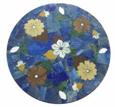 "24"" Marble Handcrafted LapisLazuli PietraDura Inlay Floral Art Work Table Top"