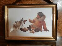 Dorothy Frances Inuit Girl with Puppies Art Print Framed