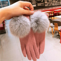 Lady Pom Pom Gloves Faux Fur Fleece Knitted Fluffy Plush Girls Winter Warm Retro