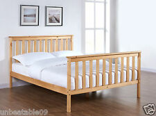 Wooden Bed Frame Natural Pine Double King Single Size Solid Pine and Mattress
