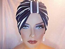 "Chemo Cancer Hat Turban Navy White Stripes Stretch Rayon Knit  ""Something4you"""