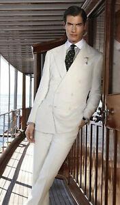 Men Ivory off White Suit Designer Grooms Wedding Dinner Party Suits (Coat+Pants)