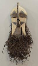 African Mask Songye Congo Male Brown White Wood Raffia Male Kifwebe Sonyge Mask