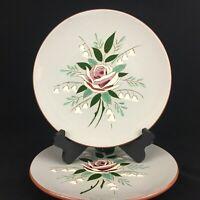Set of 2 VTG Dinner Plates by Stangl Pottery Bella Rosa Rose on Gray Trenton USA