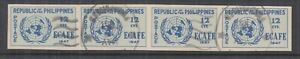 PHILIPPINES, 1947 ECAFE, imperf. 12c. Blue, strip of 4, used.