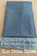 Blue Cotton Throw: Denim Throw, Bed or Sofa Rug Soft Throw Blanket, Travel, Kids