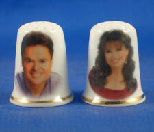 Birchcroft  Thimbles Pair - Donny and Marie Osmond -  Free Dome Gift Boxes