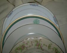 4 Pink Green Dinner Plates Floral Mismatch China Wedding 10-1/2 inches VTG LOT