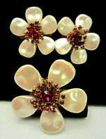 Rare Vintage Signed Miriam Haskell (Horseshoe) Flower Brooch & Earring Set A29