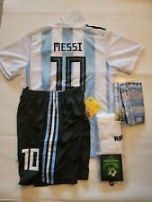 Messi HOME Argentina Kids Kid Soccer Jersey Kit Size 28 Age 10 to 13 Years Old
