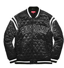 Supreme Diamond Quilted Satin Varsity Jacket - Black - Small - SS17 - Confirmed