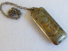 Antique White Gold Plate Initial P Belt Buckle Slide pocket watch Fob