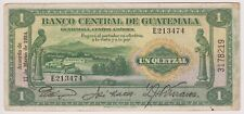 Guatemala Banco Central 1 Quetzal 1934 P14a First Date VF Bird Rare Signature