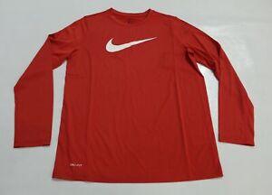 Nike Boy's Dri-Fit Long Sleeve Training T-Shirt JQ2 University Red Size XL NWT