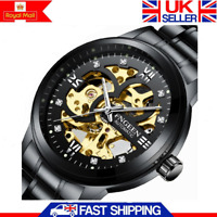 New Skeleton Automatic Mechanical Mans Watch Stainless Steel Band Wristwatch Men
