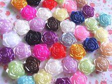 20 x Misto Perle in Resina Fiore Rosa abbellimento artigianato PANNA Cabochon 18 mm