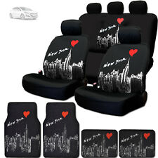NEW BLACK FABRIC NEW YORK SKYLINE FRONT REAR SEAT COVER MATS SET FOR HYUNDAI