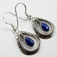 "925 Pure Silver HANDWORK Earrings 1.5"" ! LAPIS LAZULI VINTAGE STYLE Jewelry"