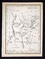 1833 Perrot Tardieu Map - Mayenne Chateau Gortier France - Miniature Antique Map