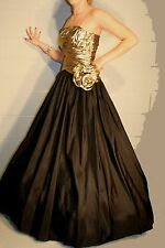 Xs/S VTG 80s DOES 50s BLACK & GOLD METALLIC SHELF BUST BALL GOWN PROM DRESS