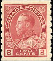 1912 Mint H Canada 2c F-VF Scott #127 Admiral KGV Coil Stamp