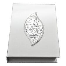 Vangelo bianco 7x11 similpelle con puttini goccia laminato argento