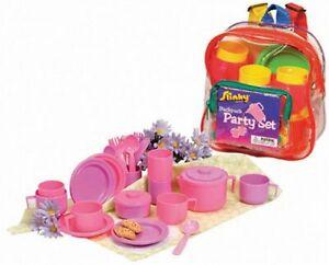 Play Tea Set 25+ Durable Plastic Pieces Safe BPA Free for Kid's Tea Party Set