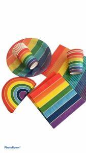 Rainbow Bright Birthday Party Plates Napkins cups straws pride lockdown end