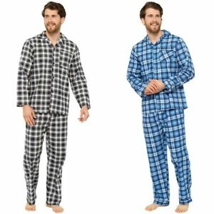 NEW Men's Tom Franks Traditional Check Pyjama Sets Brown or Blue