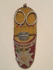 Nähset mit Fingerhut + Schere DRGM Pantoffel Souvenir Königswinter Sewing shoe