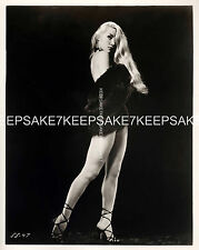 STRIPTEASE DANCER LILLY CHRISTINE LEGGY IN ONLY A FUR AND HEELS 8x10 PHOTO S-LC1
