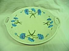 """Vintage G S Zell Germany Basketweave Blue Flowers 10"""" Cake Plate With Handles"""