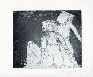 Irene Hangauer, abstrakte Figuration Radierung a. Bütten signiert, Exemplar e.a.