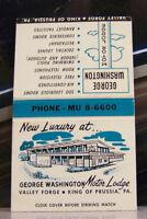 Rare Vintage Matchbook N1 King Of Prussia Pennsylvania George Washington Lodge
