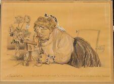 Abel Faivre grand dessin original caricature couleur
